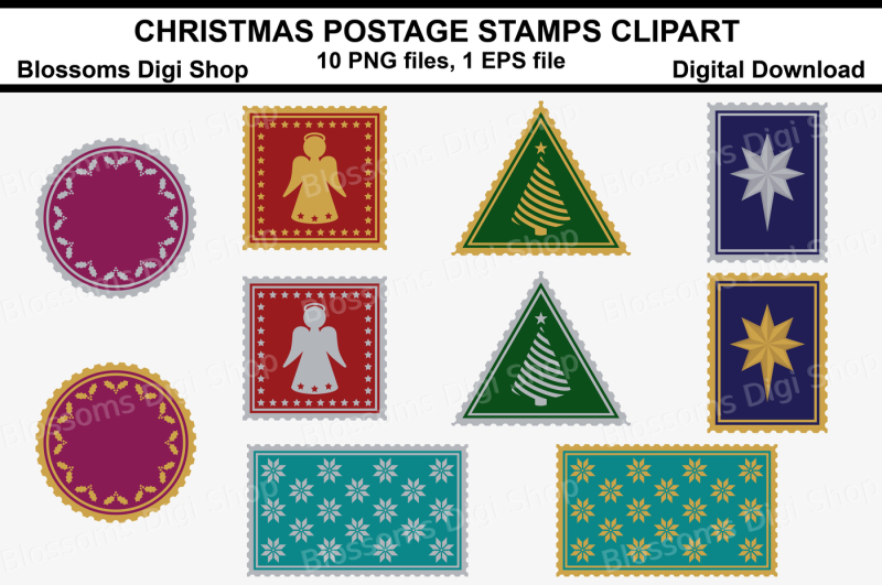 christmas-postage-stamps-clipart-10-png-files-1-eps-file