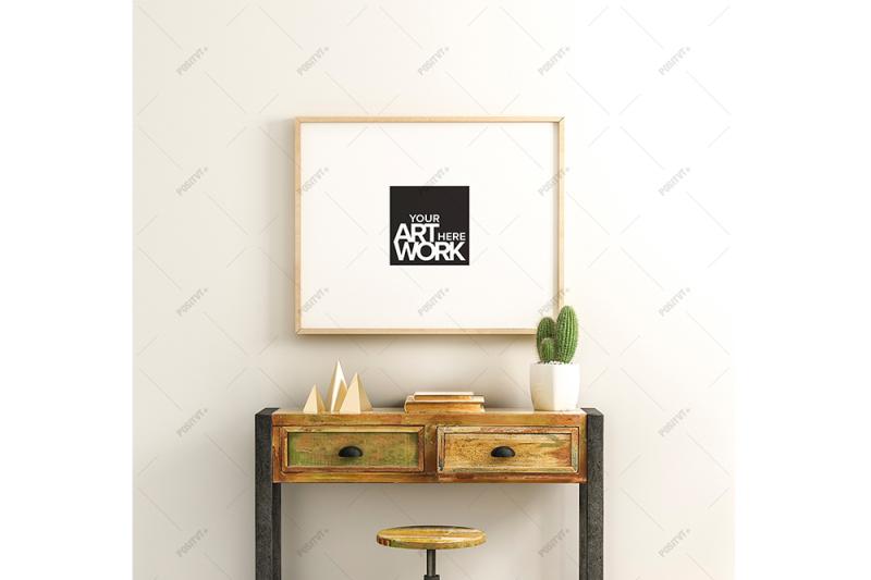 Free Poster Mockup Reclaimed Wood - Landscape (PSD Mockups)