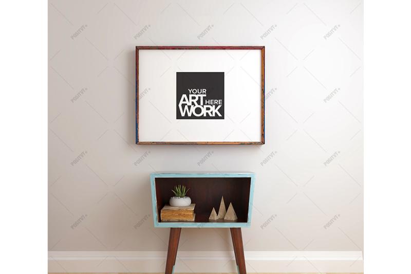 Free Poster Frame Mockup Mid century - Landscape (PSD Mockups)