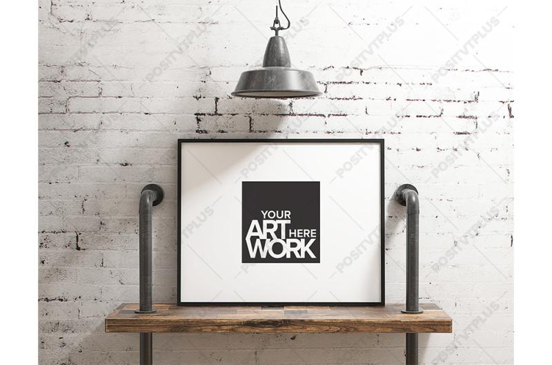 Free Poster Mockup Industrial pipe shelve - Landscape (PSD Mockups)