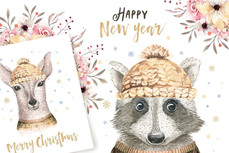 christmas-raccoon-and-deer-animals