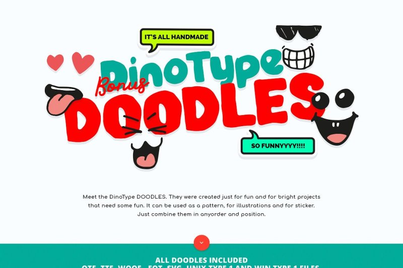 dinotype-font-family-and-doodles