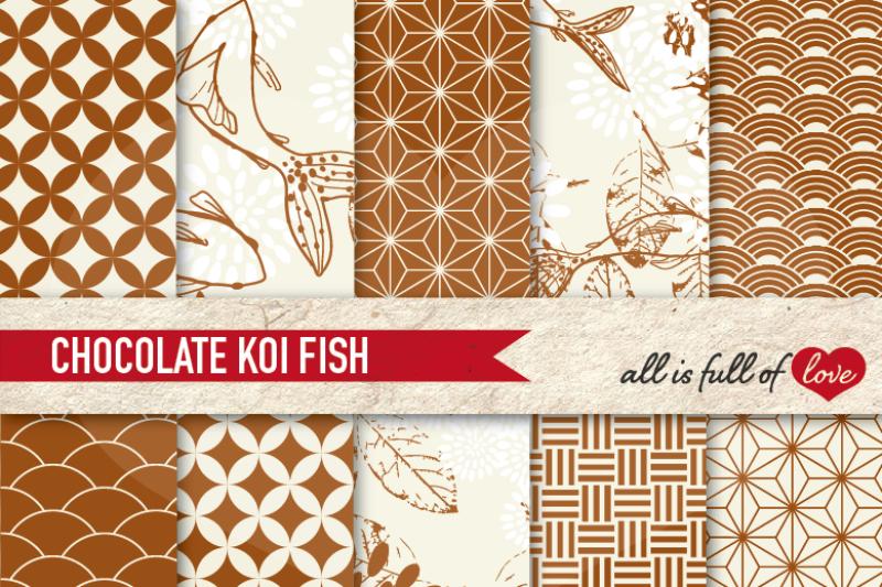 brown-patterns-koi-fish-digital-background-kit