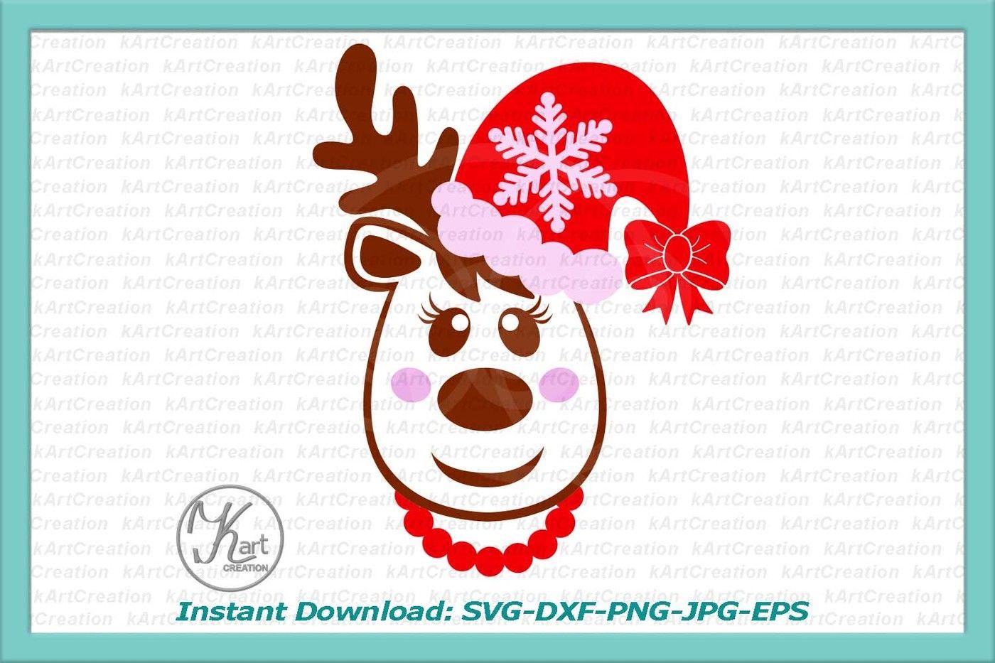 Reindeer Head Svg Santa Hat Svg Reindeer In Santa Hat Christmas