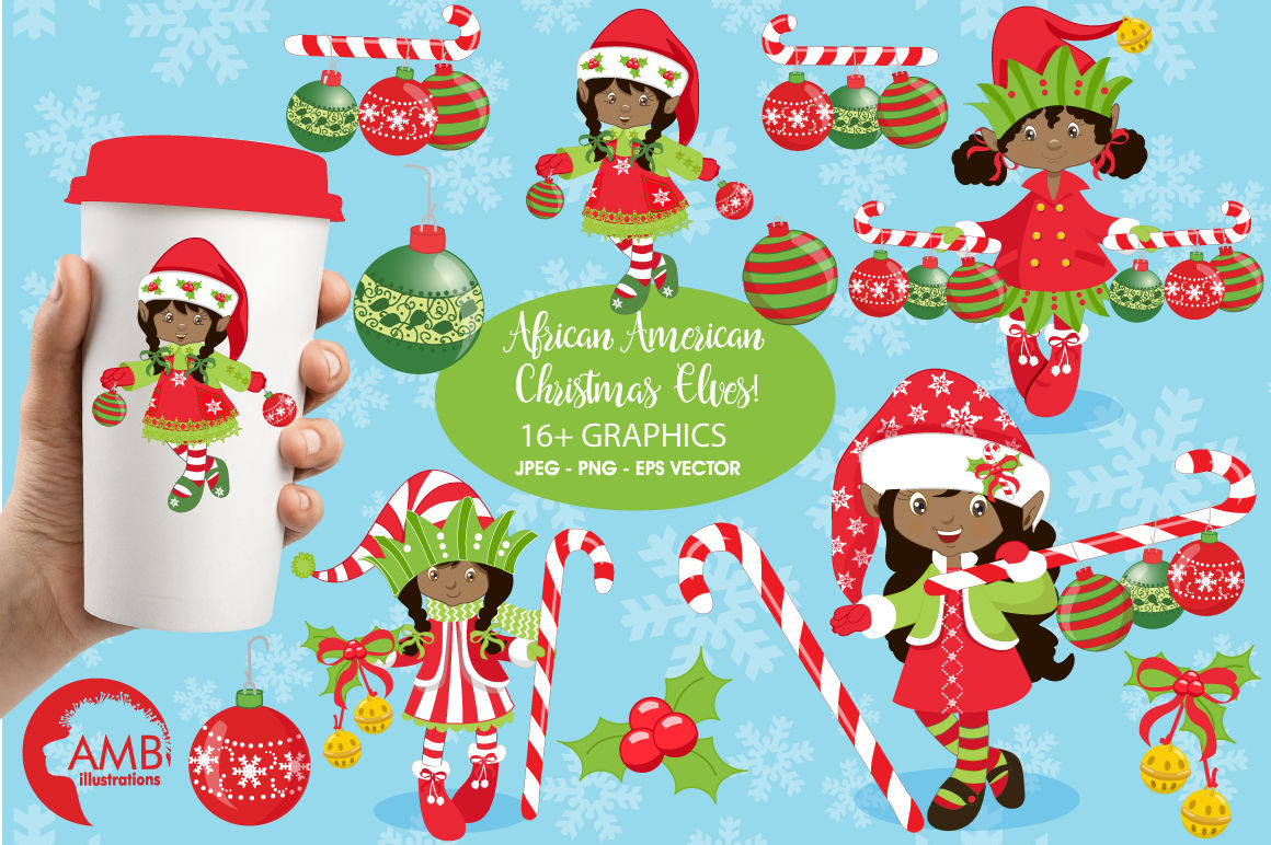 Christmas Elves Clipart Graphics Illustrations Amb 196 By