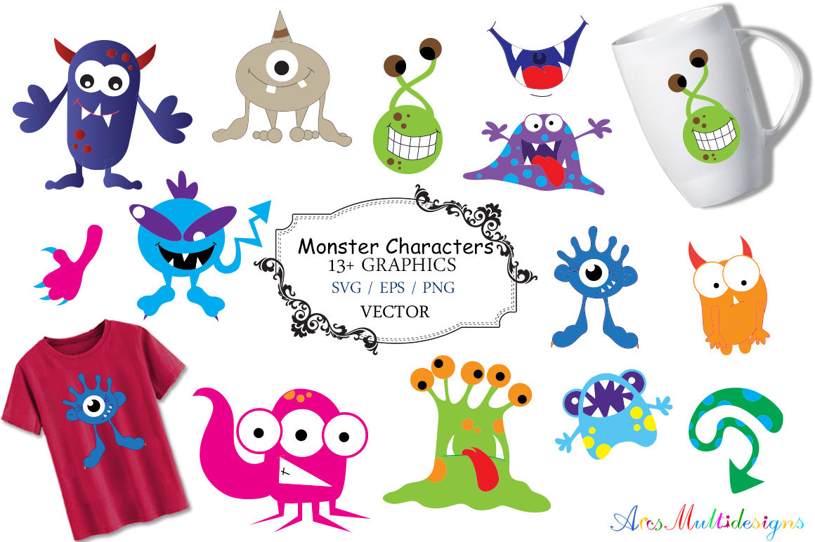 Monster Characters Cute Monster Svg Monster Svg Vector Hand