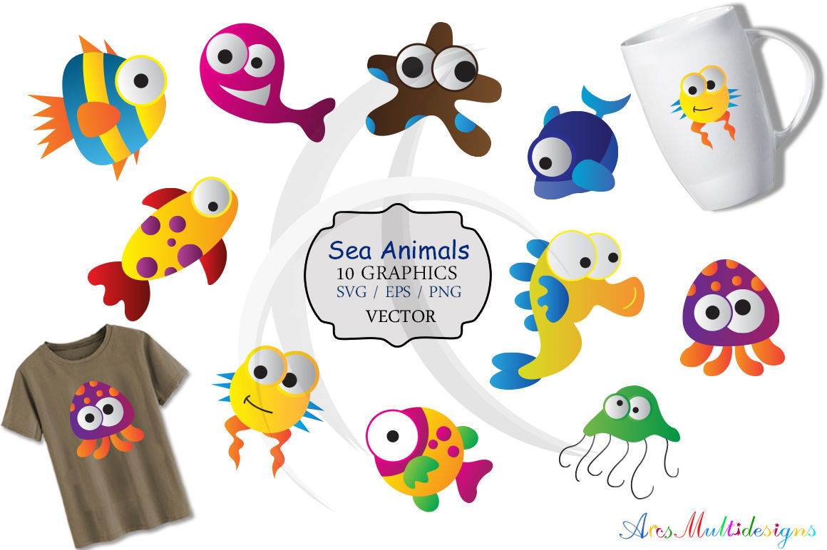 graphic regarding Printable Sea Creatures referred to as sea animal svg /sea pets clip artwork SVG /sea animal vector