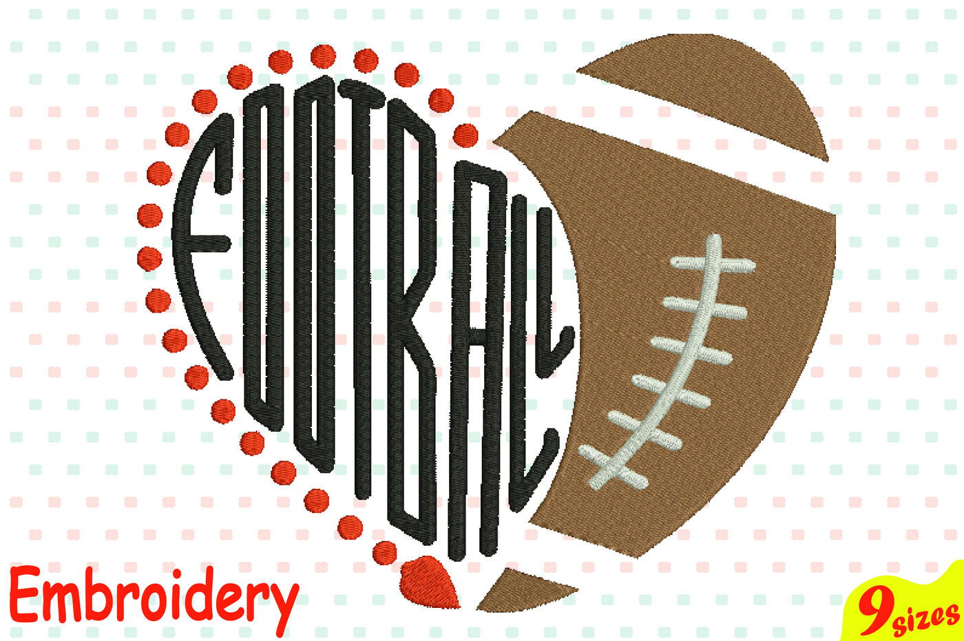 Football Heart Ball Designs For Embroidery Machine Instant