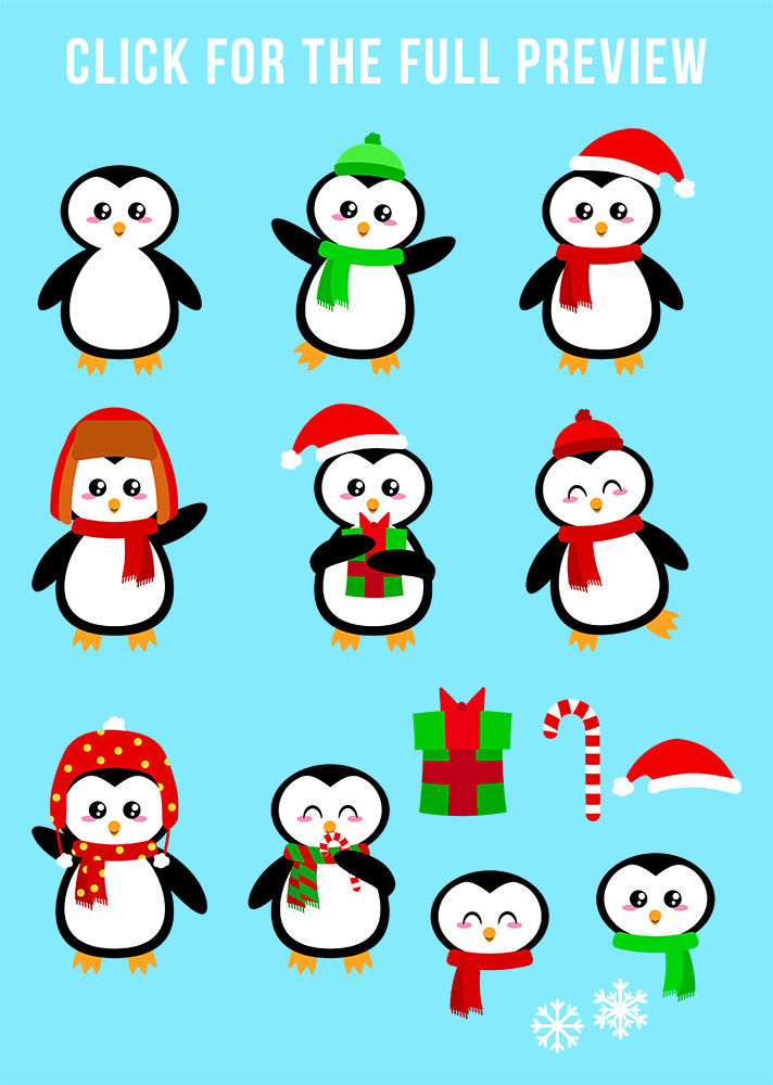 Holiday Penguins Clipart Christmas Clipart Holiday Clipart