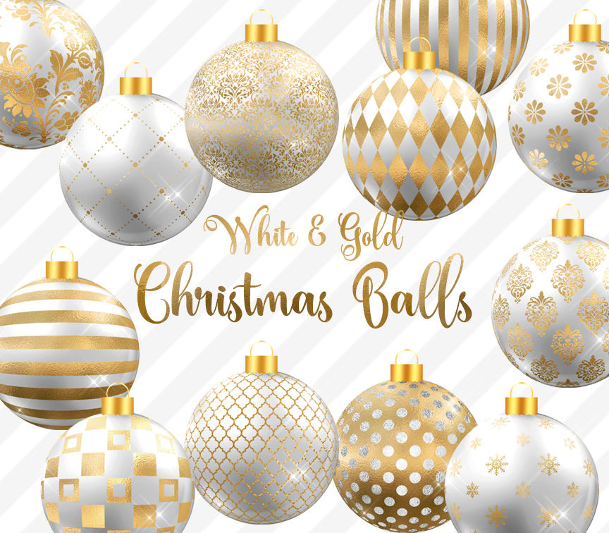 White And Gold Christmas Balls Clipart By Digital Curio