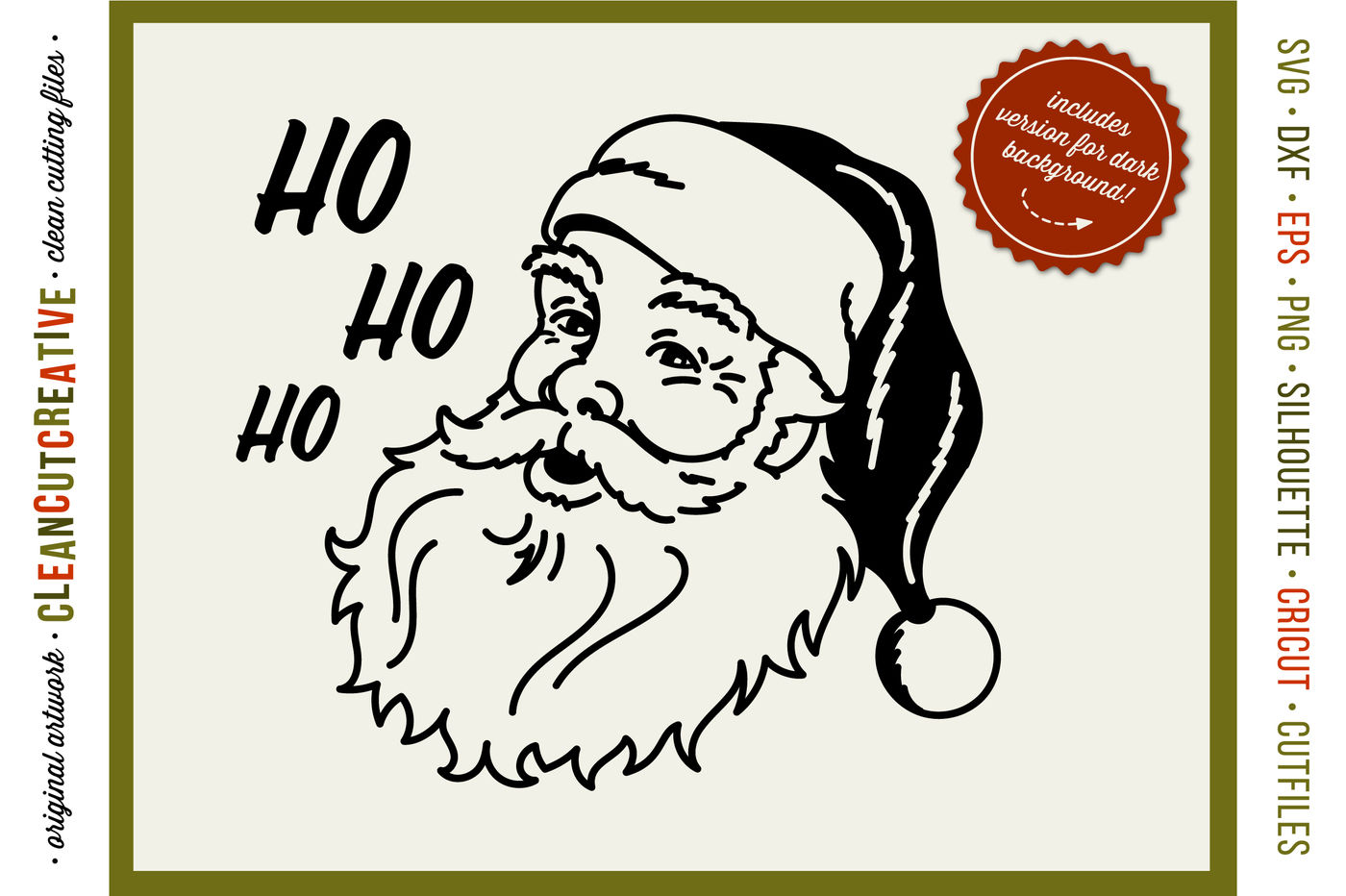 Ho Ho Ho Old School Santa Svg Dxf Eps Png Cricut Silhouette Clean Cutting Files By Cleancutcreative Thehungryjpeg Com