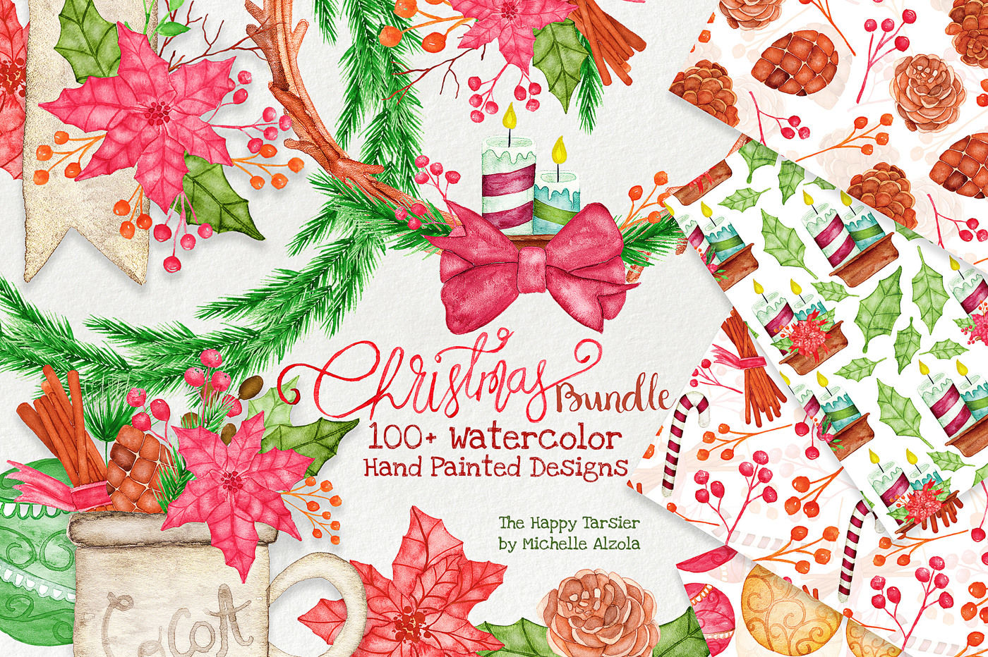 Christmas Watercolor Bundle By Michelle Alzola Thehungryjpeg Com
