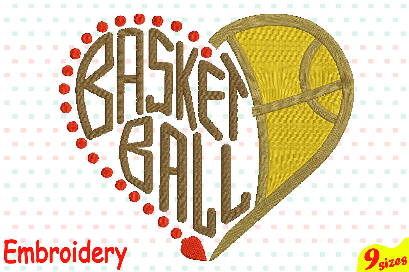 Basketball Heart Ball Designs For Embroidery Machine Instant