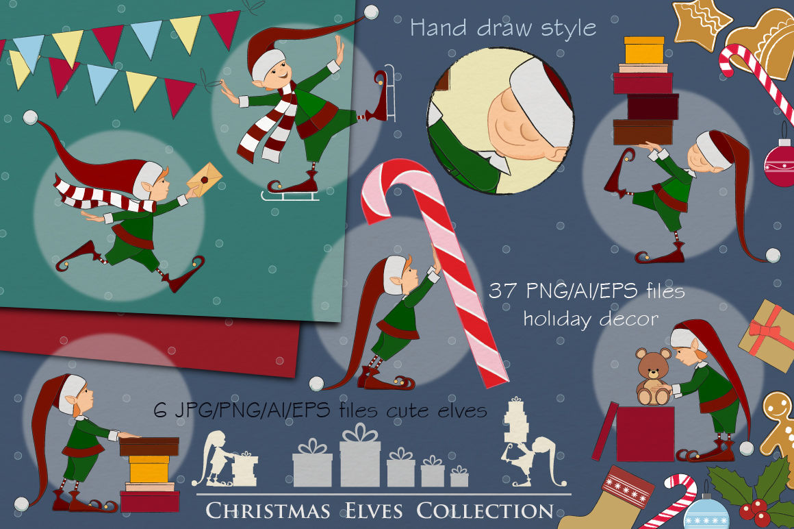 Christmas Elves Collection Merry Christmas Decor By Natalydesign
