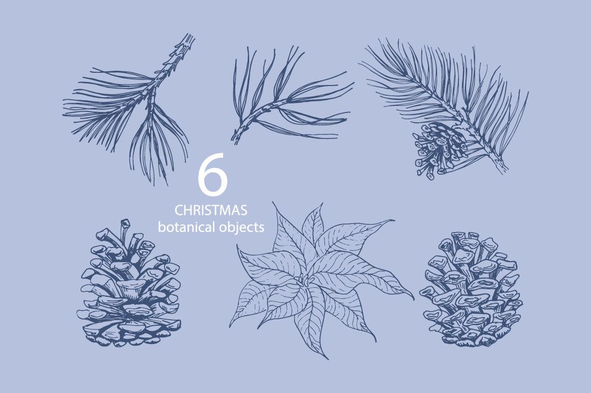 Christmas Doodle Set Botanical Elements And Christmas Decorations