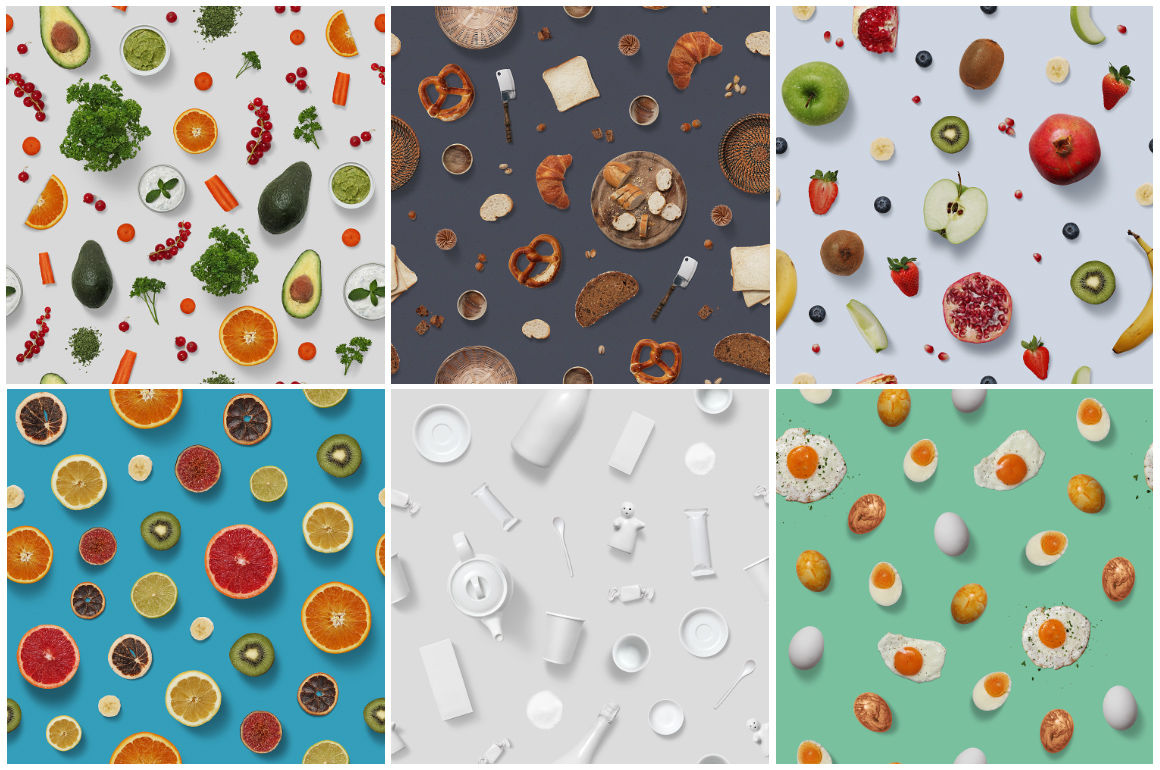 10 Food Photography Patterns By h3design | TheHungryJPEG.com