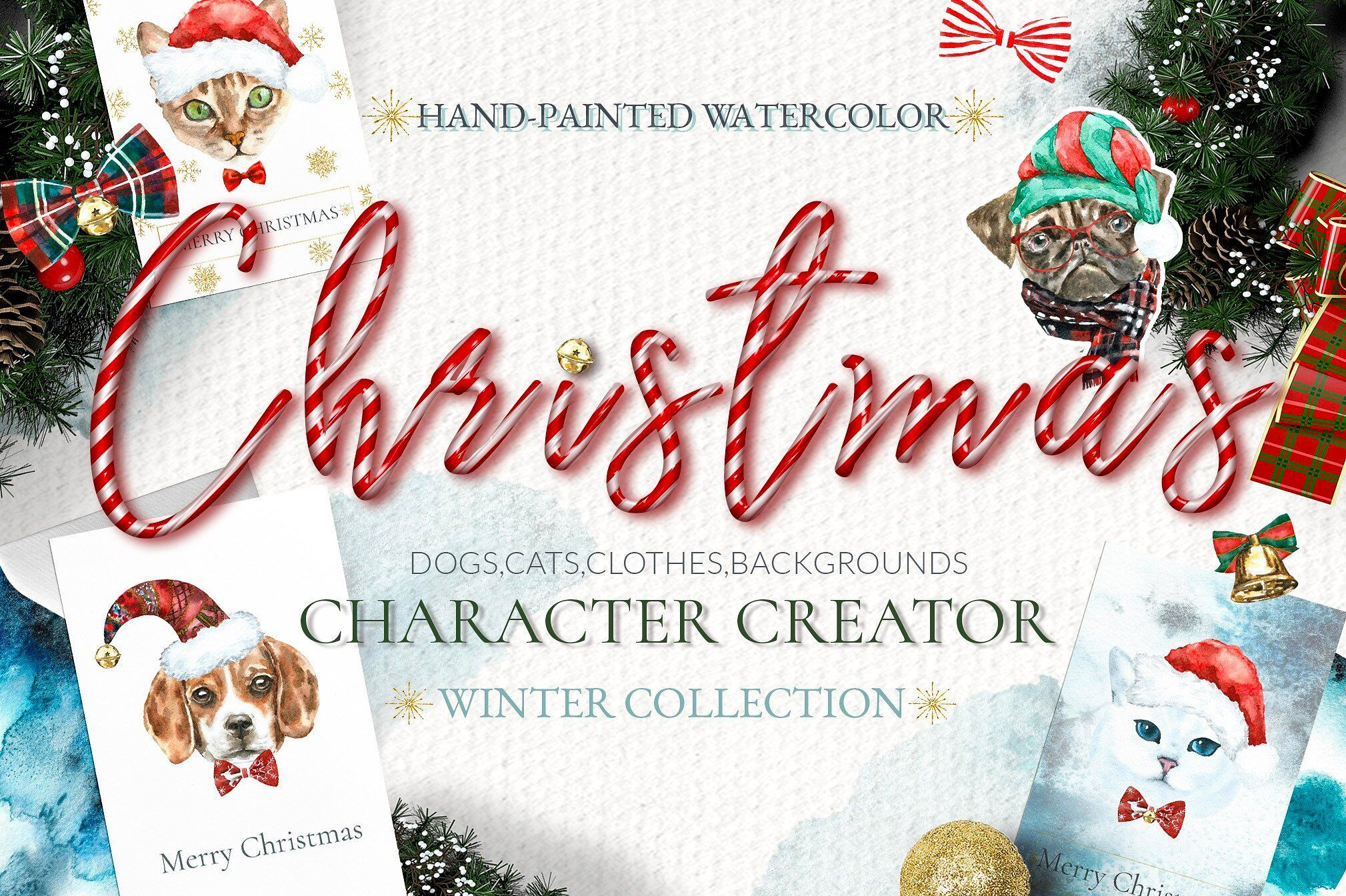 Christmas Animal Creator Watercolor Dogs Cats Sale By Catherine