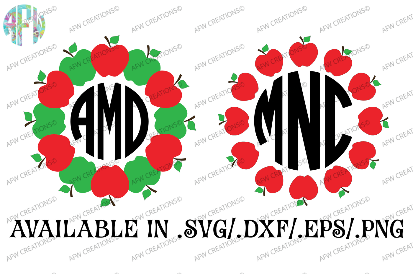 Apple Monograms Svg Dxf Eps Cut Files By Afw Designs Thehungryjpeg Com