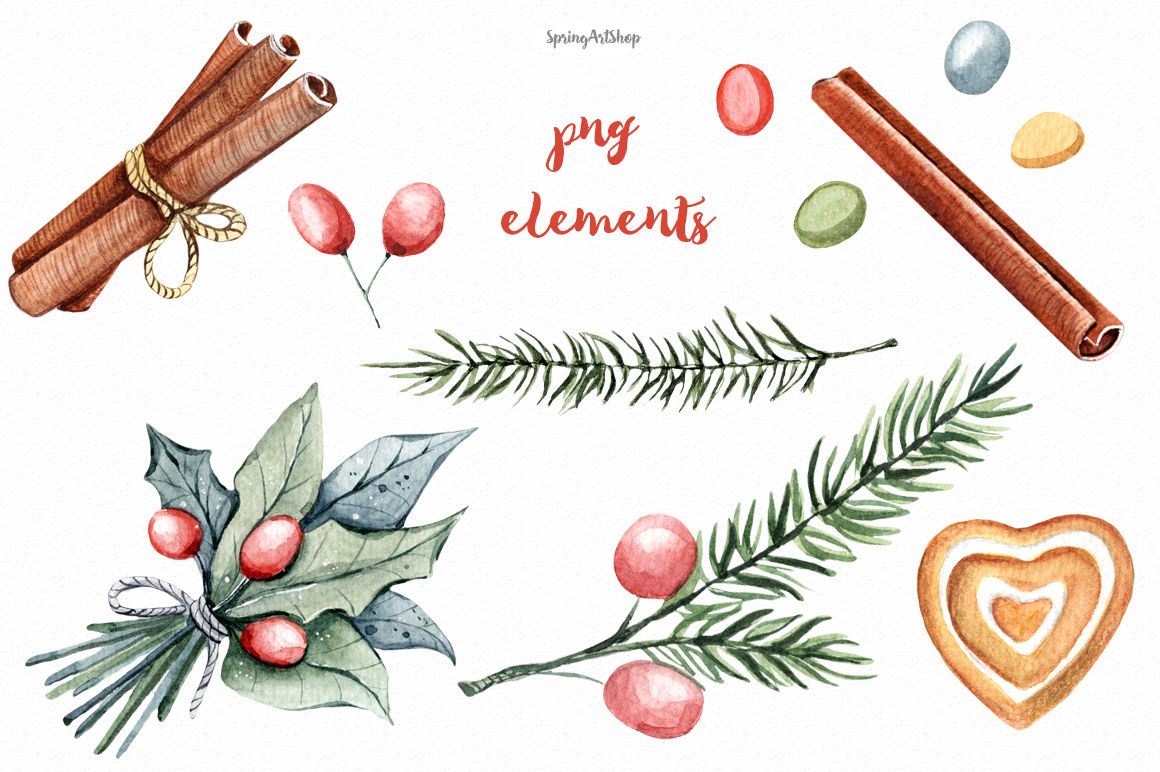 Christmas Food Watercolor Clipart By Springartshop Thehungryjpeg Com