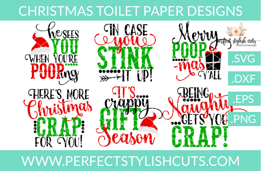 SALE! Christmas Toilet Paper Designs Collection - SVG, EPS, DXF, PNG