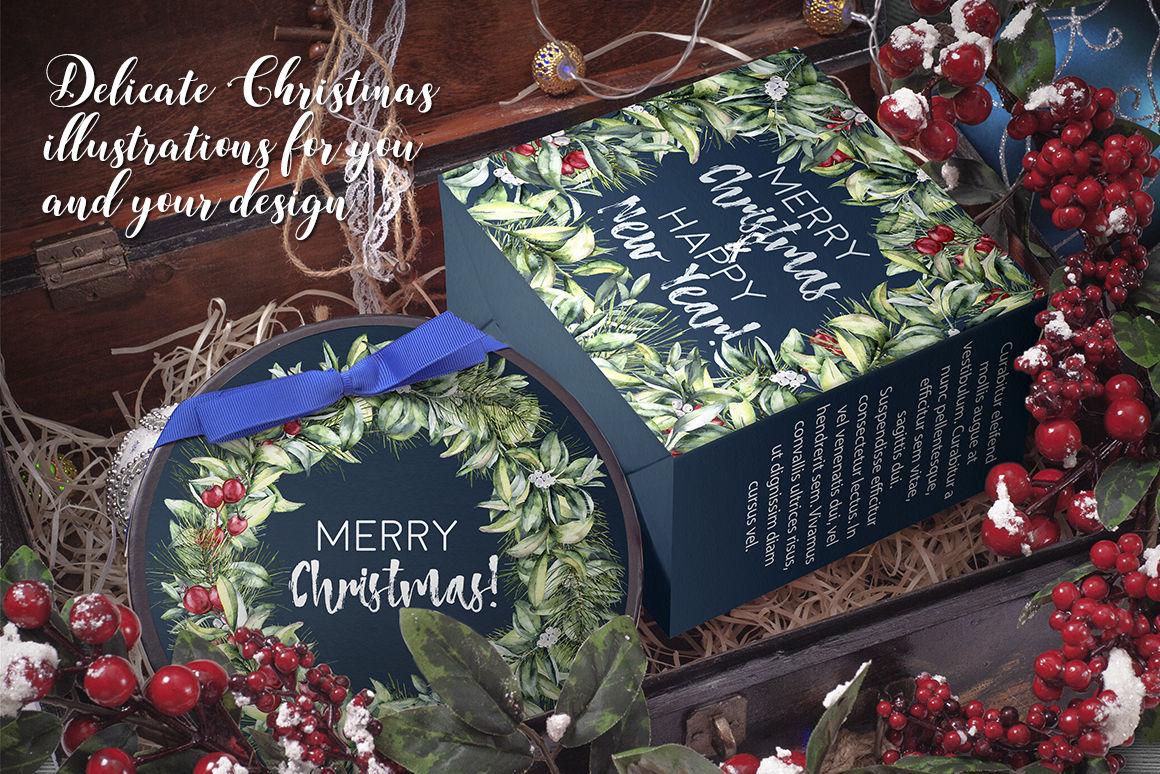 Elegant Christmas Watercolor Clip Art By Yuliya Derbisheva