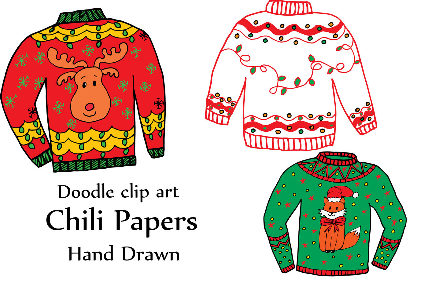 Ugly Christmas Sweater Clipart.Ugly Christmas Sweater Clipart By Chilipapers