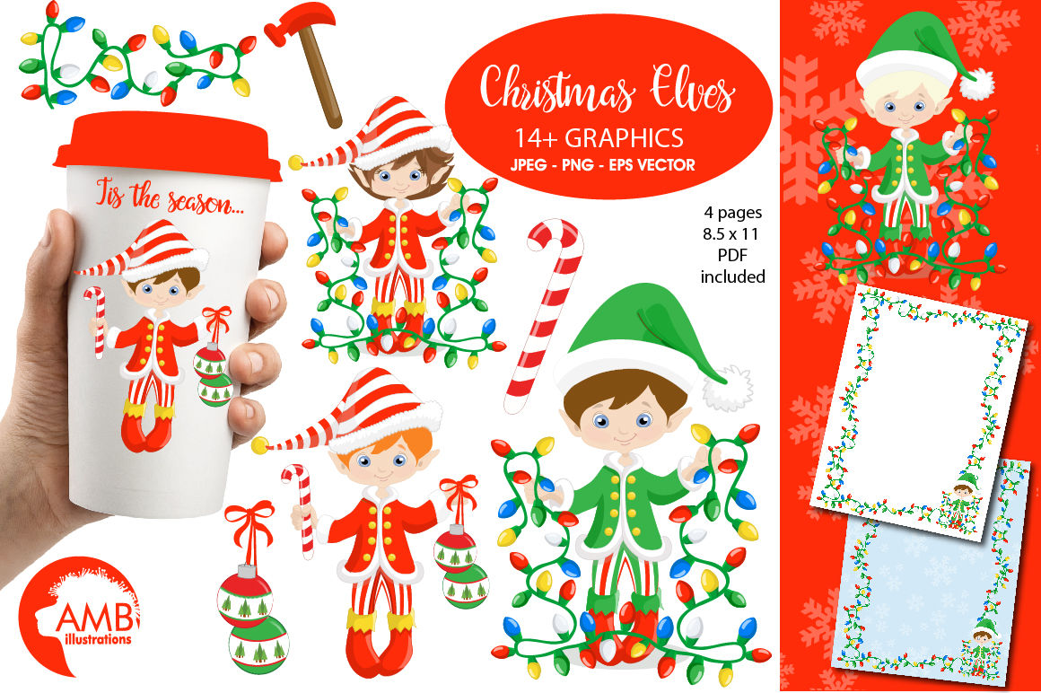 Christmas Girly Elves Clipart Graphics Illustrations Amb 1132 By