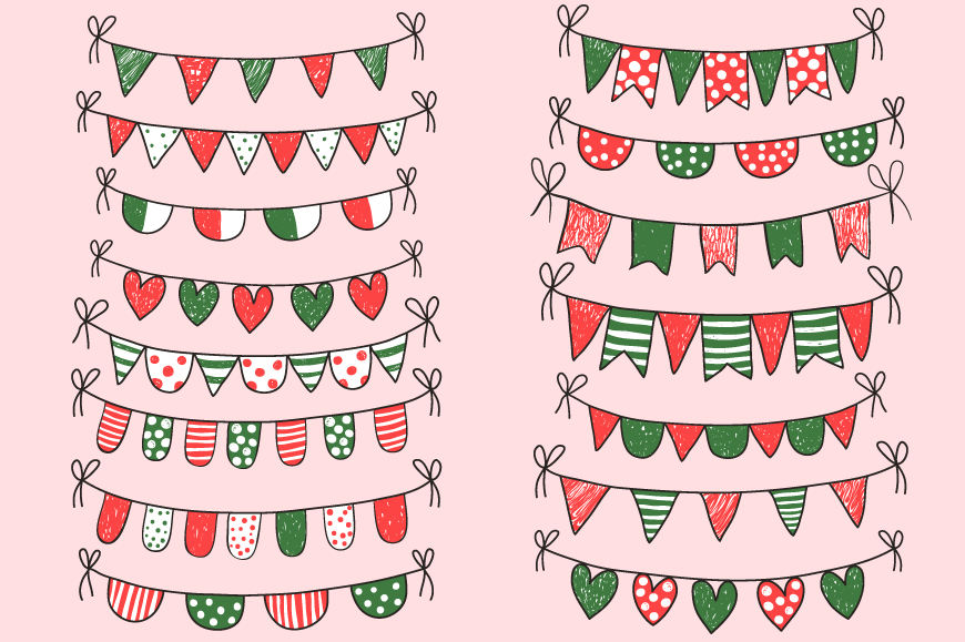 Christmas Bunting Clipart Red Green White Doodle Buntings Clip