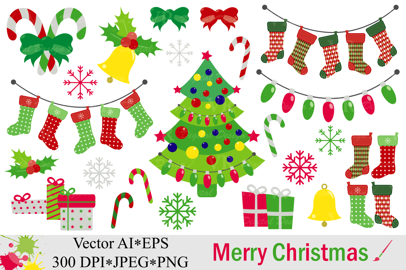 Merry Christmas Clipart Vector By Vr Digital Design