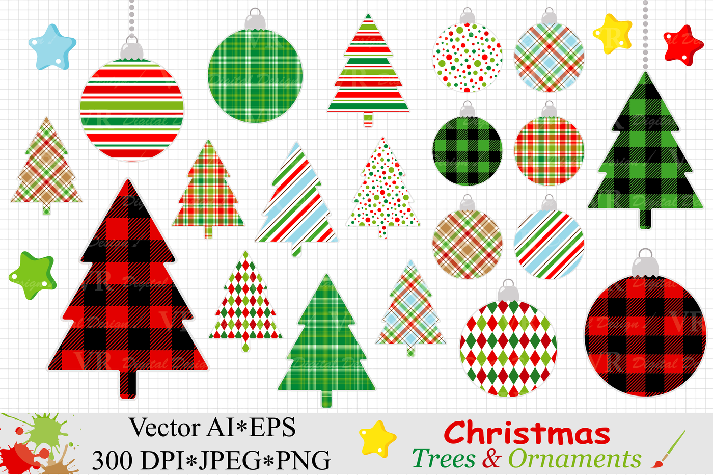 Christmas Trees And Ornaments Clipart Vector By Vr Digital