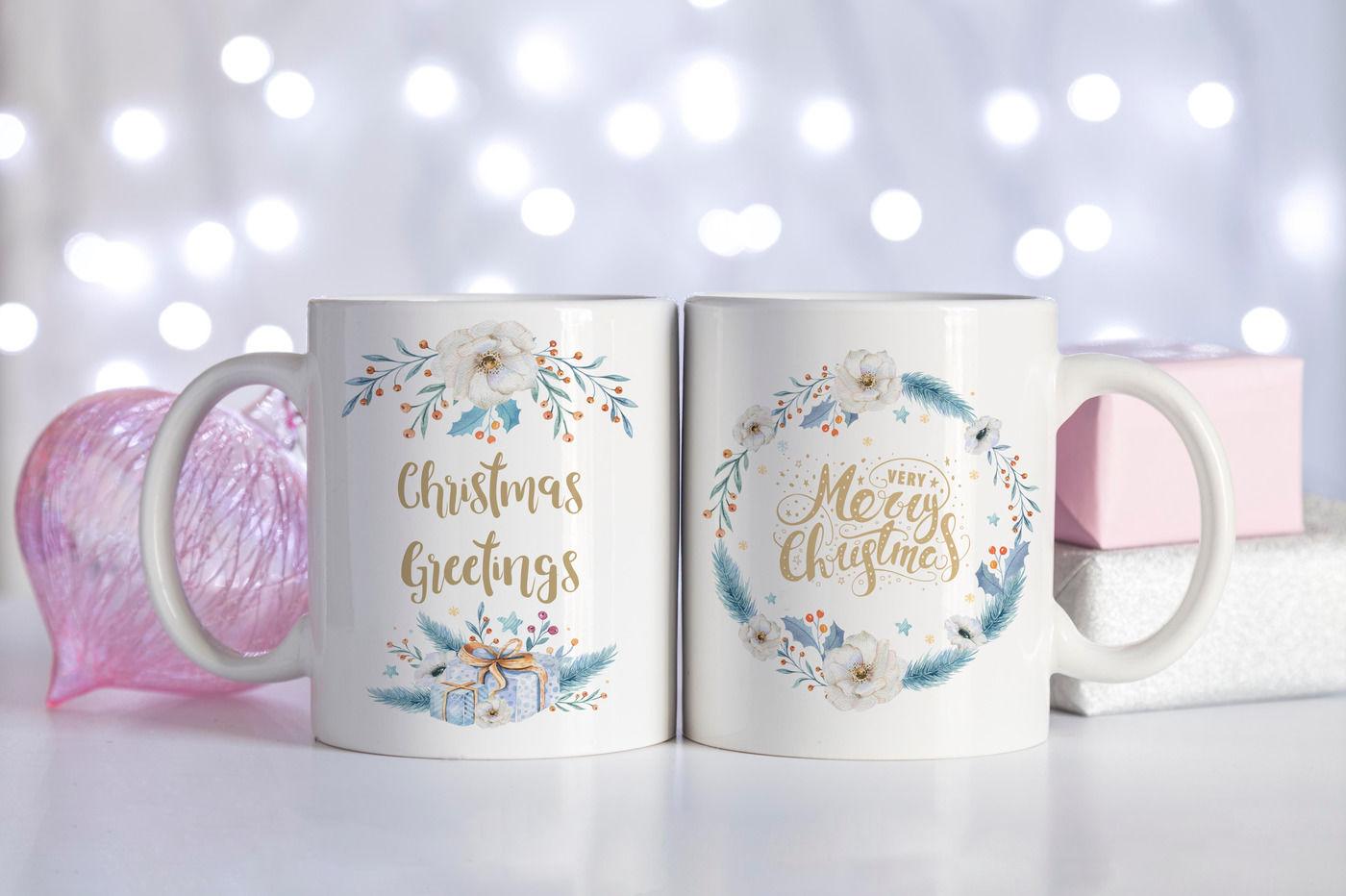 Double Mug Mockup Pink And White Christmas By Wanderlustlens Thehungryjpeg Com