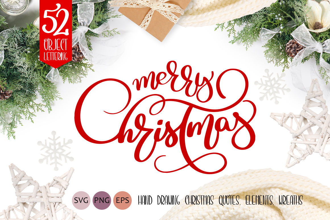 Merry Christmas Quotes And Objects Calligraphy Collection By Happy