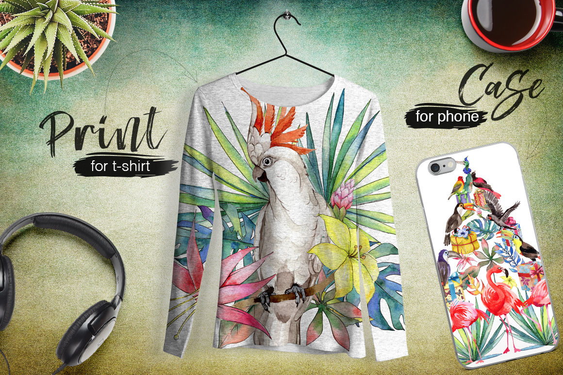 Tropical Png Watercolor Flower Set By Mystocks Thehungryjpeg Com