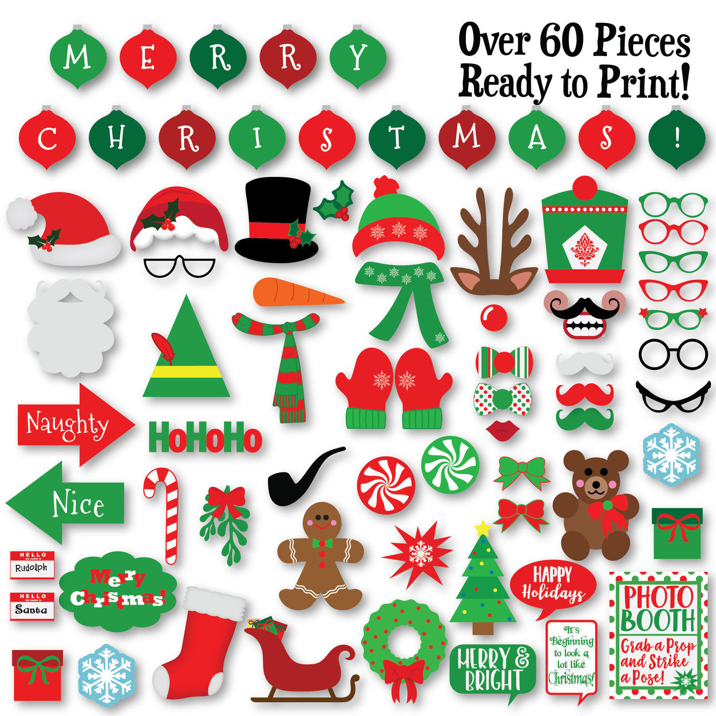 Christmas Photo Booth Props Svg Cut File Dxf Png Jpeg