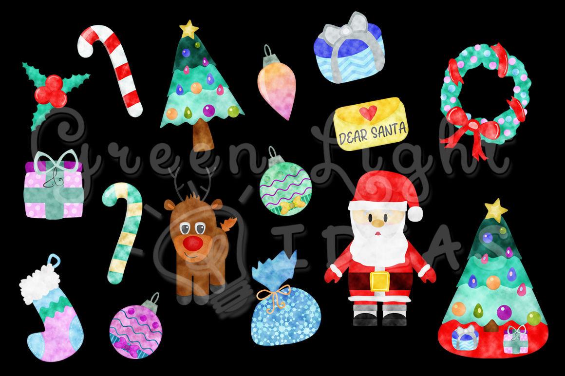 Watercolor Christmas Clipart Christmas Graphics Holidays Clip