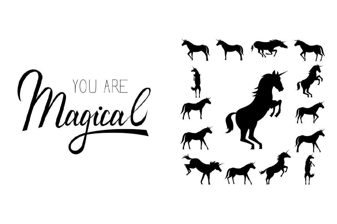 You Are Magical Unicorn Silhouette Set By Ink Brush Art