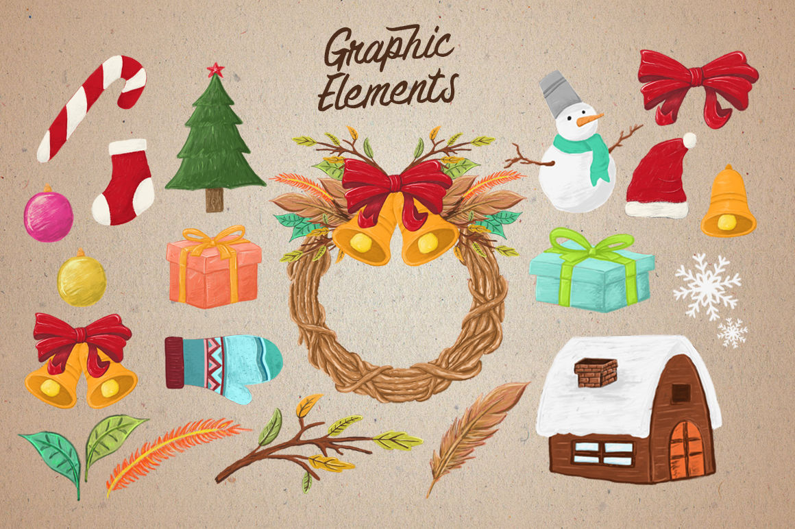 Christmas Vibes Elements By Giemons Thehungryjpeg Com
