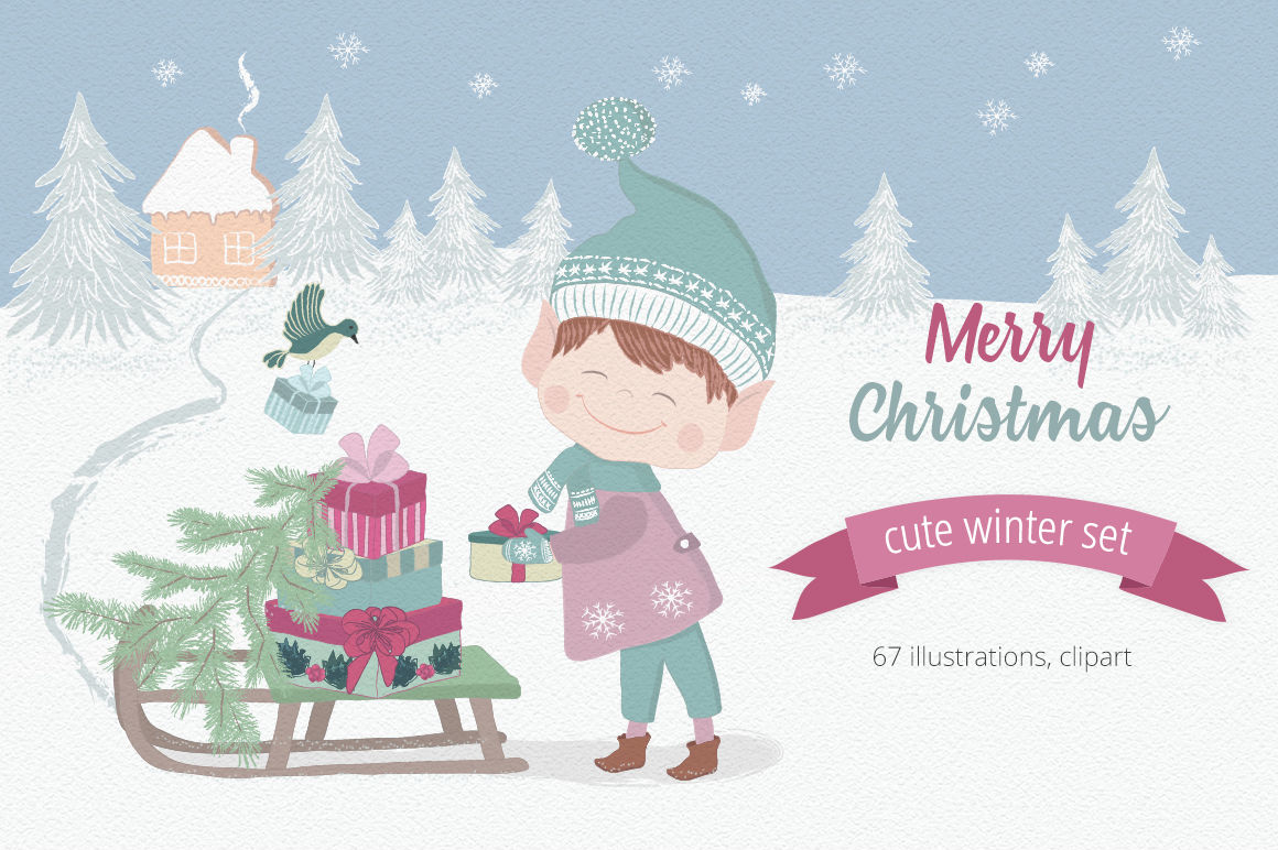Merry Christmas Illustration Set By Moving Parallels