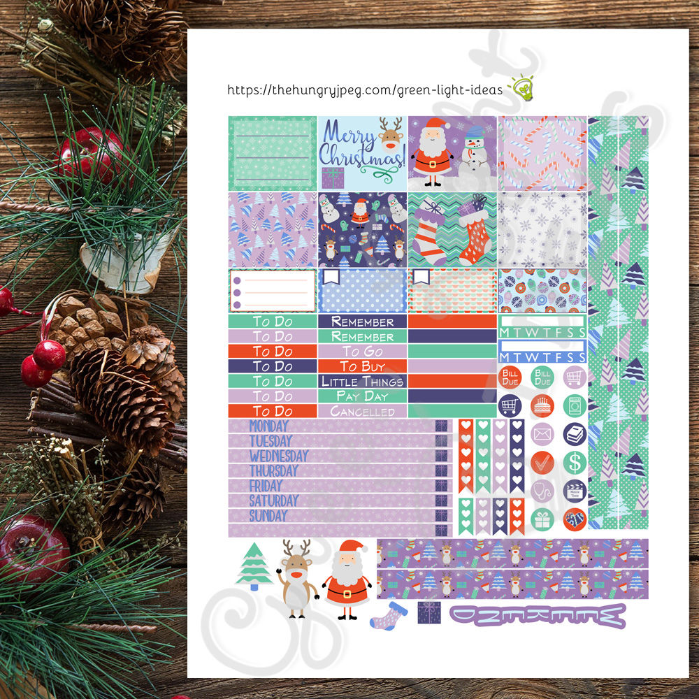 Winter Christmas Mini Happy Planner Stickers By Green Light Ideas