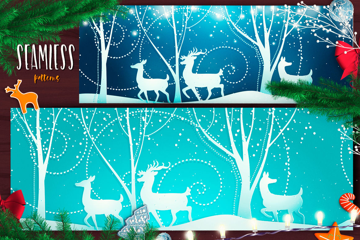Beautiful Christmas Backgrounds With Graceful Deer And Winter