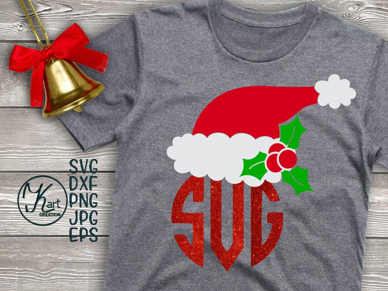 Santa Hat Svg Santa Hat Monogram Svg Christmas Svg Holly Berry
