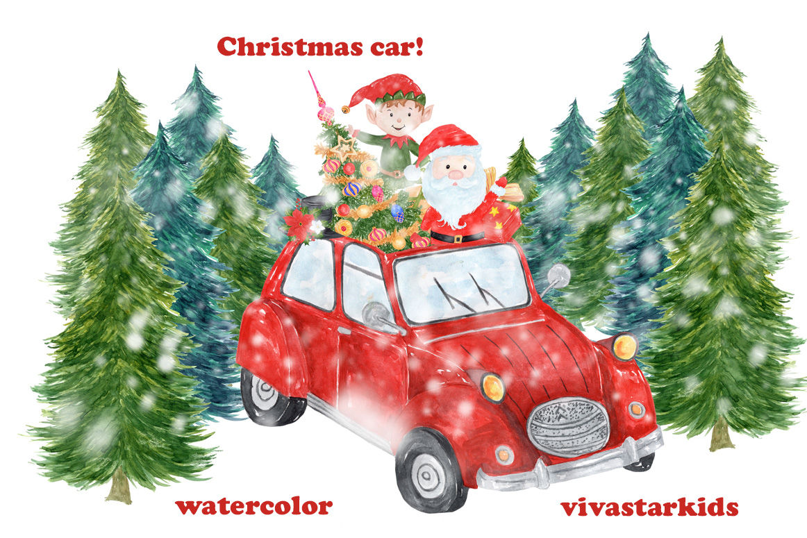 Watercolor Christmas Car Clipart By Vivastarkids Thehungryjpeg Com