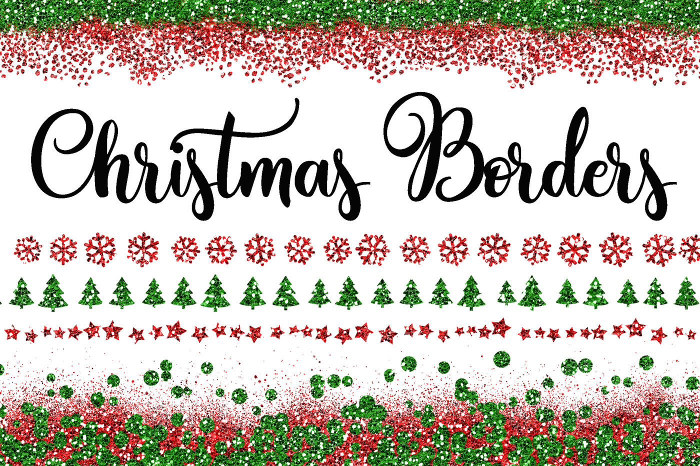 Christmas Glitter Borders Png Overlays Includes 40 Red And Green