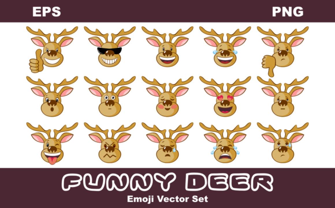 Funny Deer Emoji Vector Set By Olga Belova Thehungryjpeg Com