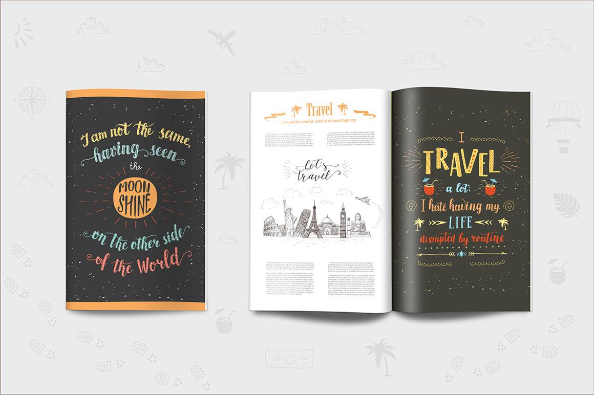 Travel hand drawn postcards/banners  By Designwork | TheHungryJPEG com