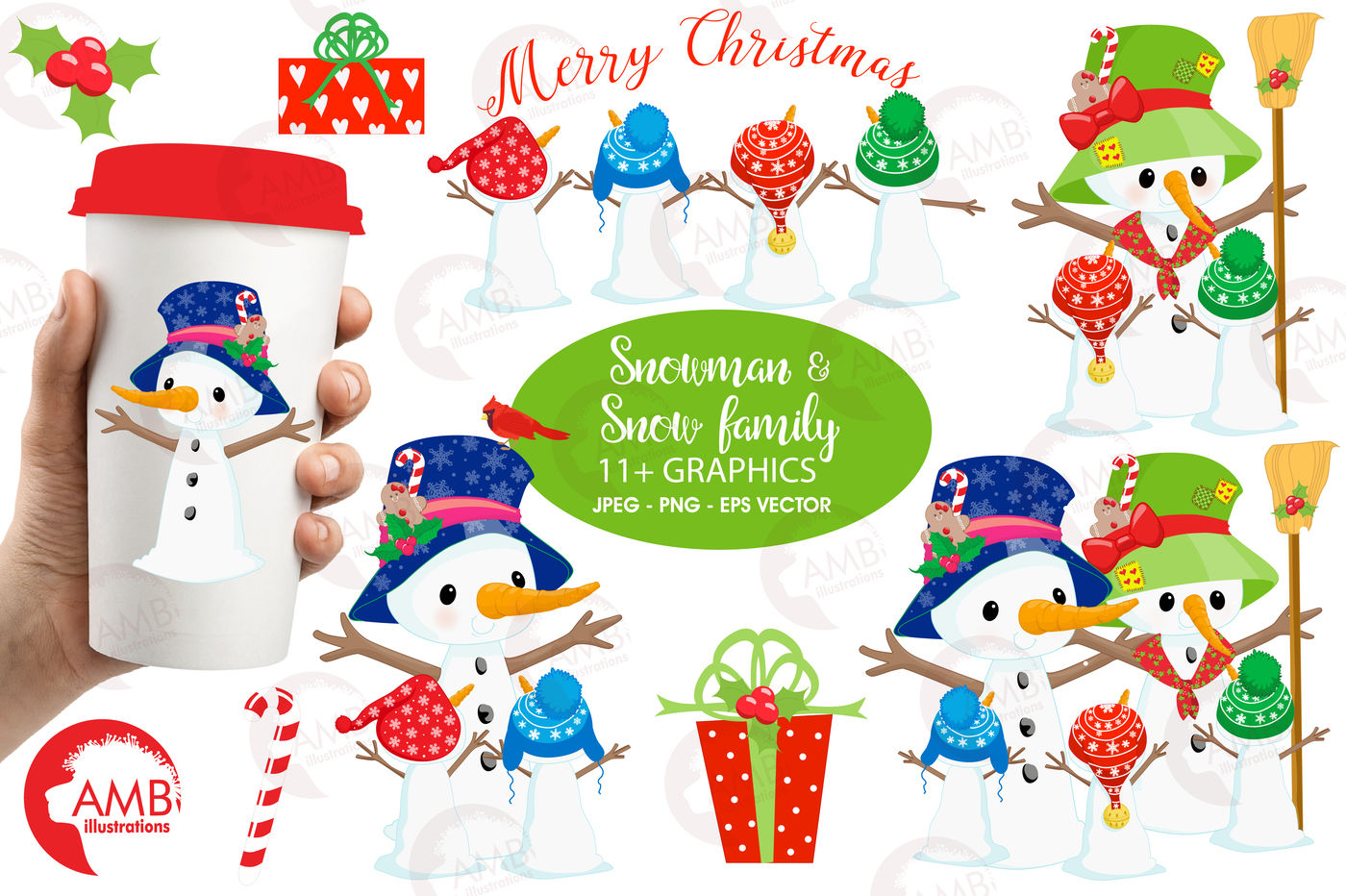 Snowmen Fun Family Clipart Graphics Illustrations Amb 1512 By