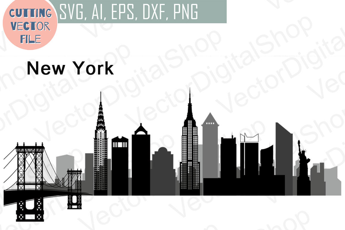 New York Vector Usa Skyline Svg Png Jpg Eps Ai Dxf By