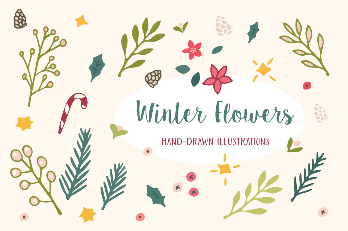 Winter Flowers Christmas Patterns By Elan Creative Co