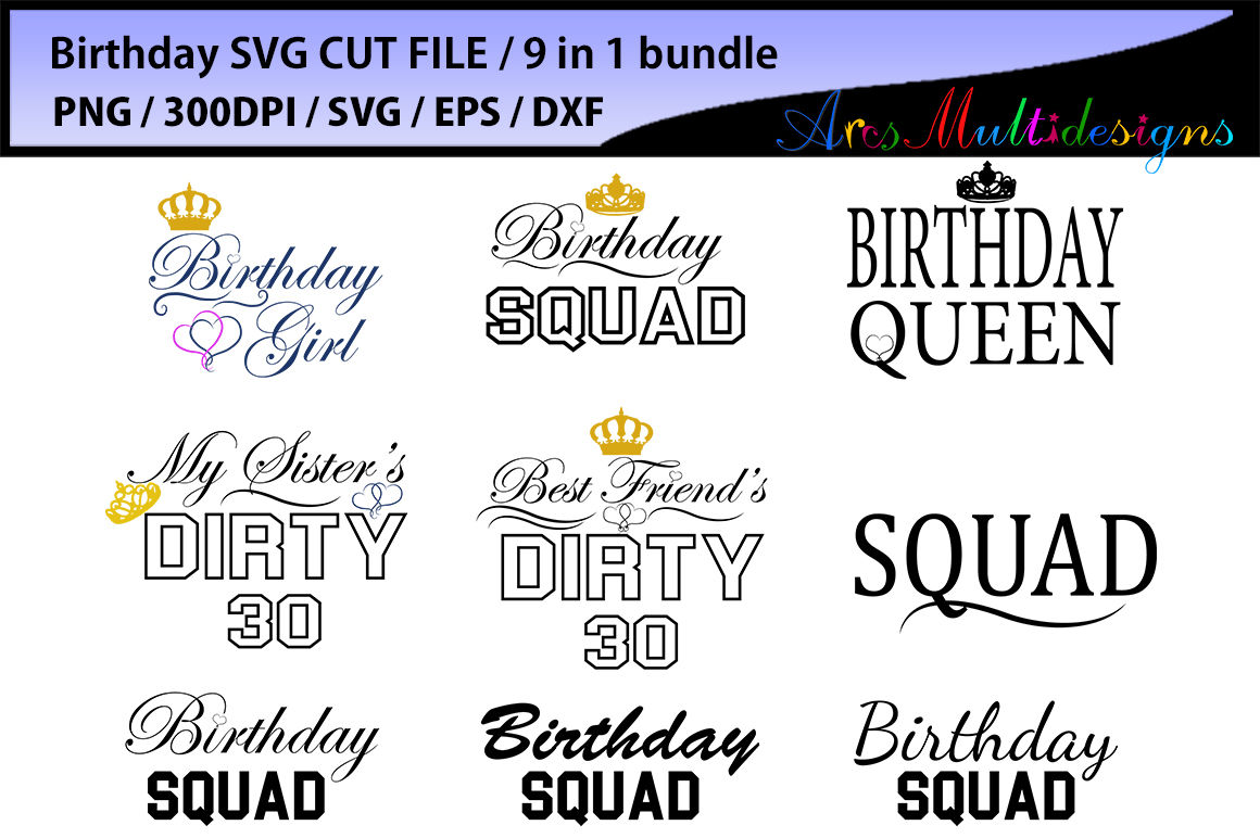 Birthday Girl Svg Cut Files Bundle 9in 1 Bundle Svg Eps Dxf