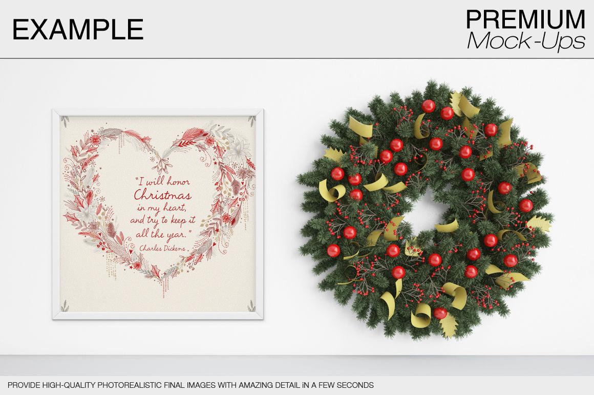Christmas Wall And Frames Mockup Pack By Mockups Thehungryjpeg Com